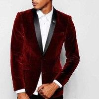 Cheap Custom Velvet Wedding Suits Groomsmen Tuxedos Black Shawl Lapel Slim Fit Business Evening Party Suits (Jacket+Pant)