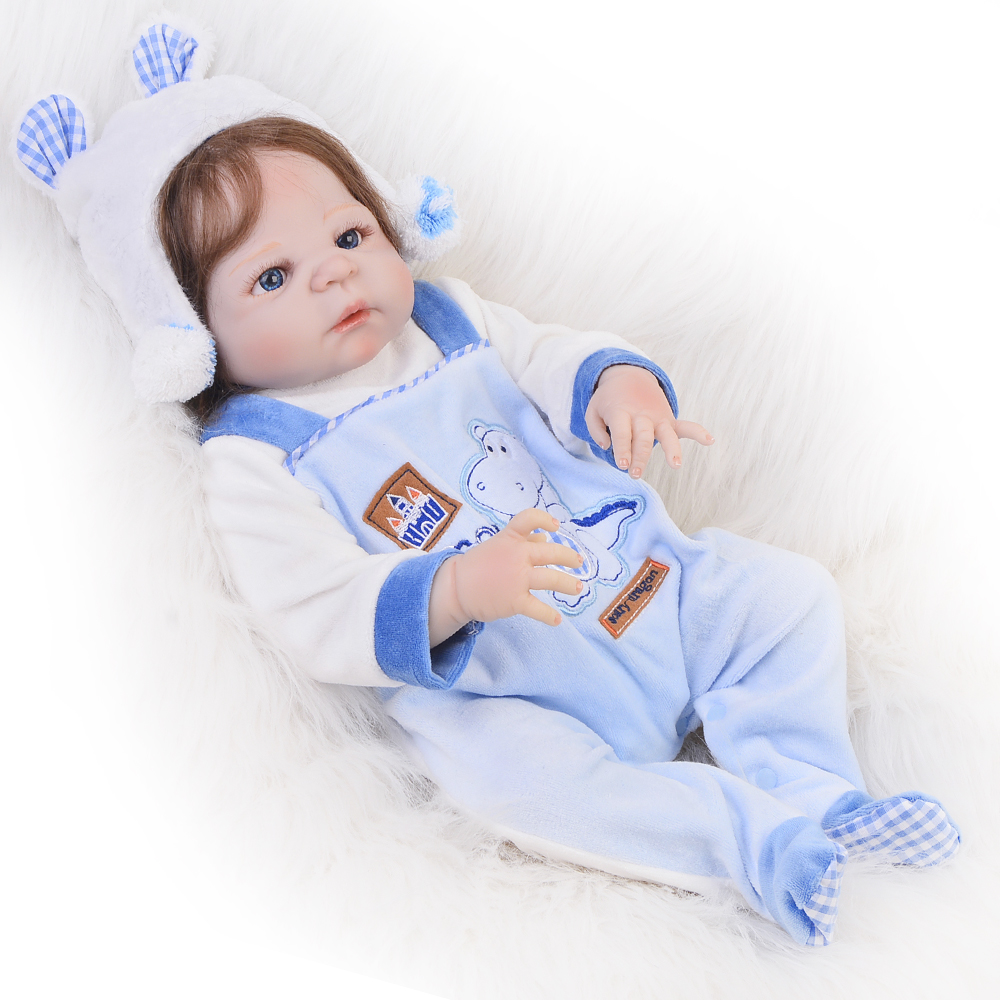 NPK  New 23 Inch Reborn Vinyl Dolls Realistic Baby Doll Boy Full Silicone Lifelike Reborn Baby Toys For Kids Birthday Gifts
