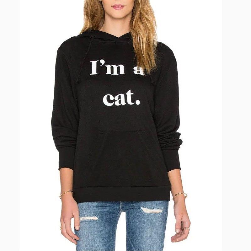 Autumn Women Cute Hooded Letter Printed Black Pullovers Sweatshirts Long Sleeve Pocket Cat Ears Design Tops Female Sudaderas