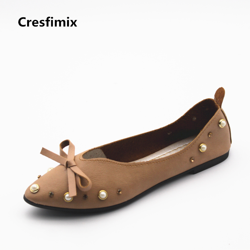 Cresfimix women cute pu leather flat shoes zapatos de mujer female casual soft rivet flats lady spring & summer slip on shoes cresfimix women cute black floral lace up shoes female soft and comfortable spring shoes lady cool summer flat shoes zapatos