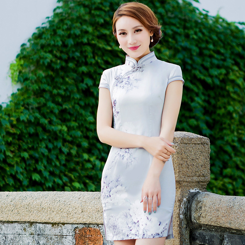 34f4847b8 New Arrivals Short Cheongsam Chinese Traditional Clothing Oriental Dresses  Flower Printing China Tang Suit Qipao-in Cheongsams from Novelty & Special  Use