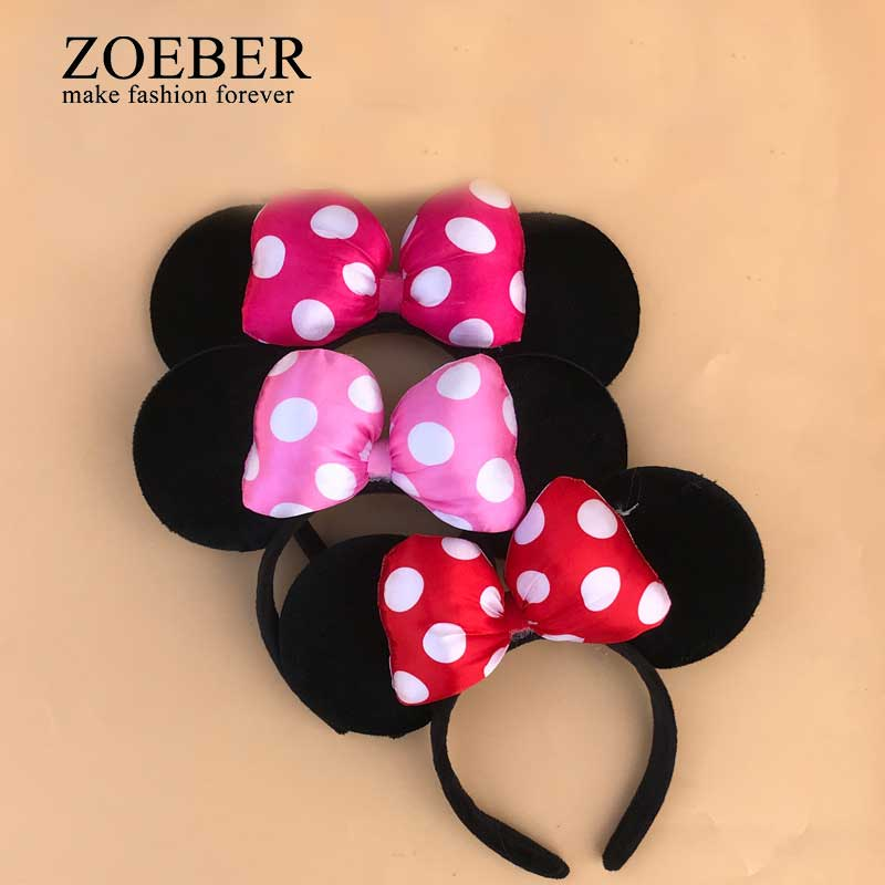 Zoeber Christmas Gift 1Piece Giant Mickey Ear Bowknot Hairbands Cute Hair Jewelry for Women Girls Lovely