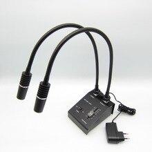 85-265V стерео Микроскоп Осветитель 6W светодиодный двойной гусиный микроскоп Точечный светильник источник