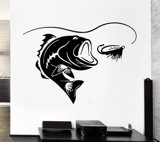 Fishing sticker vinyl removable wall sticker fish decal posters wall mural home art home decoration free