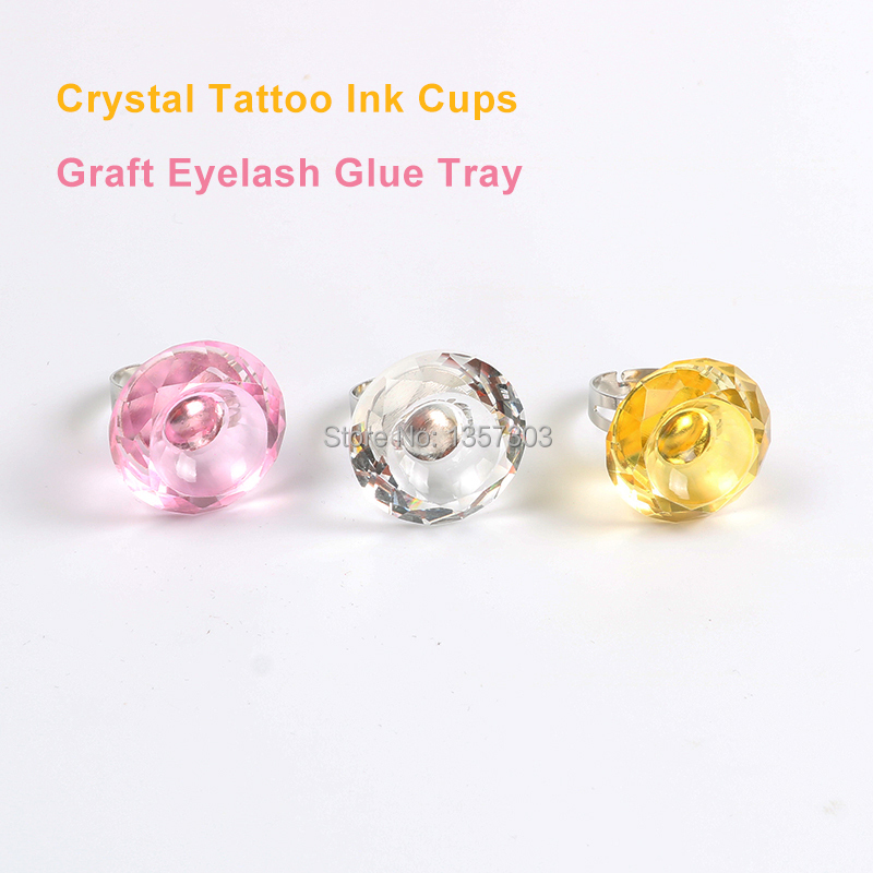 3 Pcs New Mosaic Crystal Rings Pigment Cup Big Diamond Ring Cup Eyelash Glue Tray Pattern Embroidery Semi Permanent Material