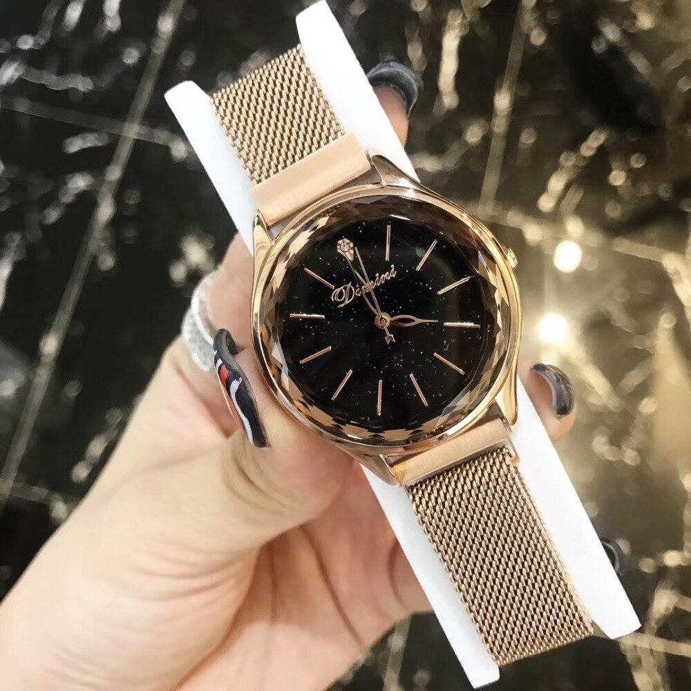 Montres en acier milanais en or Rose classique de mode Montre en cristal de verre découpé Multi Montre Bracelet Ultra mince Montre-Bracelet aimant Montre