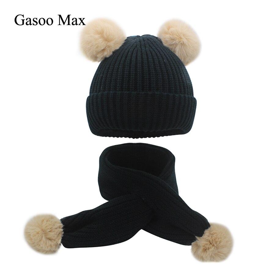 2019 Kids Hat Scarf With Fur Rabbit Pompom Girl Boy Scarve&Beanies Cap Warm Winter Baby Caps Gorro Scarf Set Pom Pom 7 Color