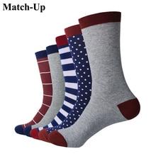 """התאמה עד איש יוקרה צבעוני עסקי מותג גרביים, מסורק כותנה גרבי ארה""""ב 7.5 12 (5 זוגות\חבילה)"""