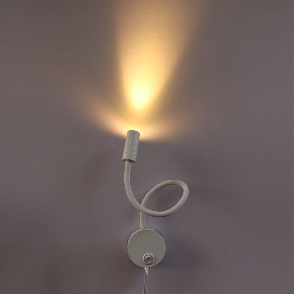 3 Вт LED настенный светильник гибкая труба картина прикроватный свет Кнопка ВКЛ/ВЫКЛ + вилка освещение белый корпус Vestibule