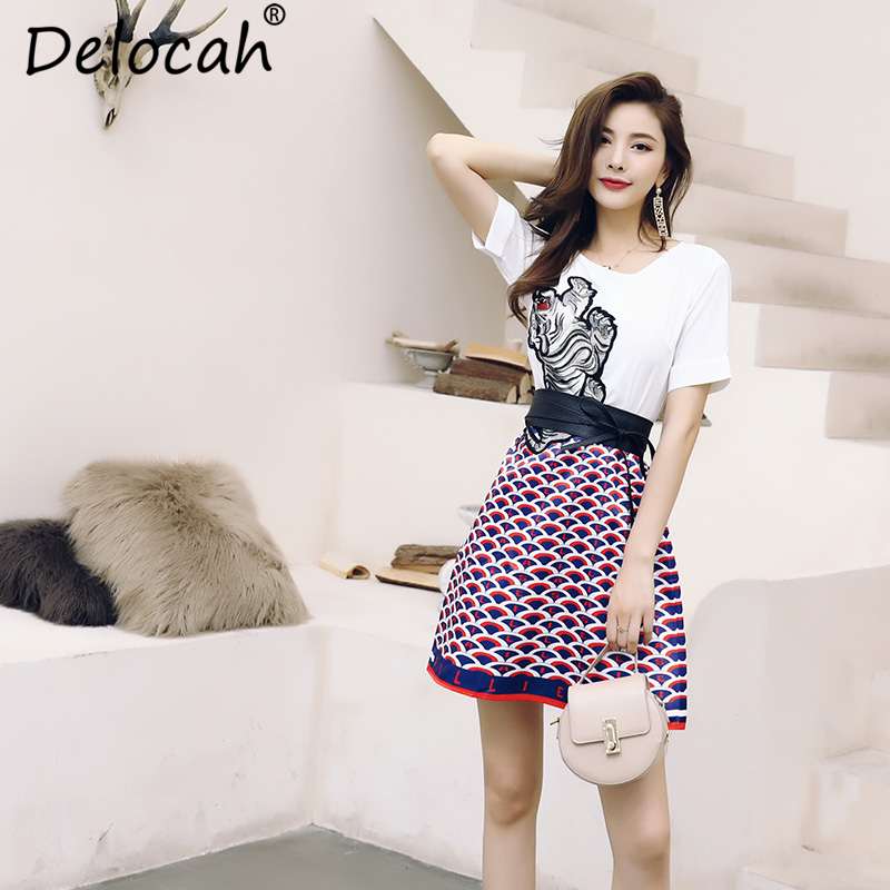 Delocah New Women Spring Summer Dress Runway Fashion Bow Tie Tiger Embroidery Splice Elegant Vintage Collect