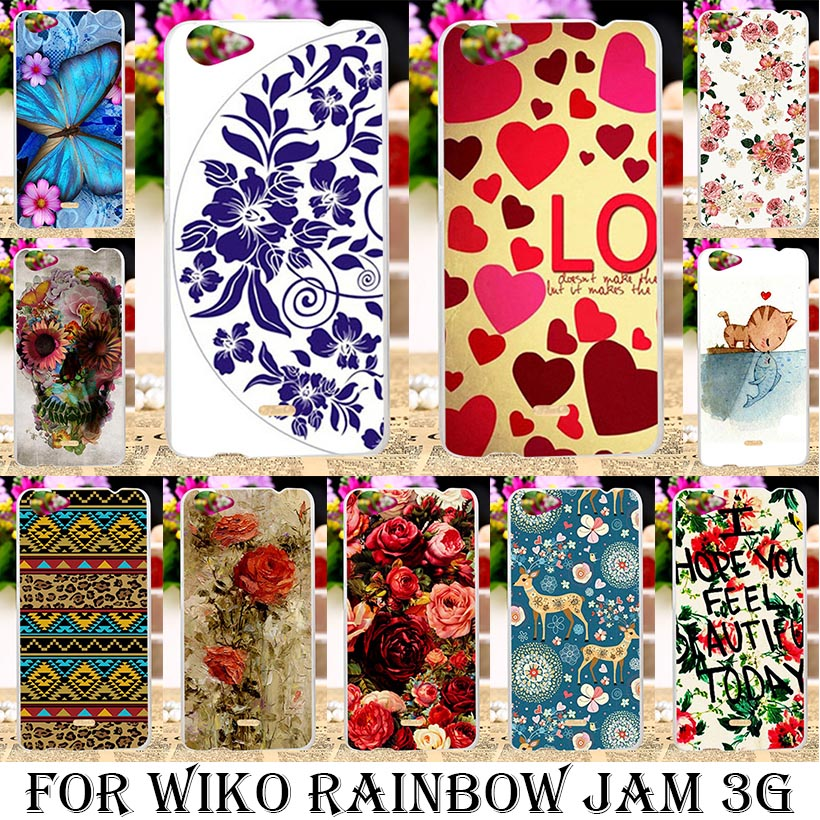 TAOYUNXI Silicone Phone Cover Case For Wiko Rainbow Jam 3G 5.0 inch Case Soft TPU Hard Plastic Flowers Background Housing Bag