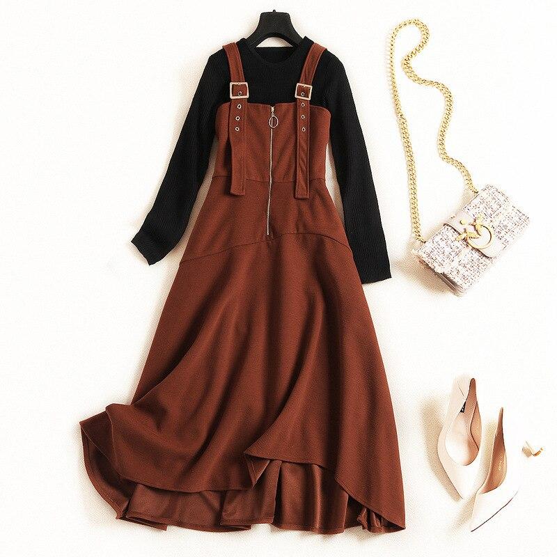 2018 Y Vestido Otoño Las Casual Piezas Alta Conjunto Punto Calidad 2 De Caramel Mujeres Tops 4H5wq5B