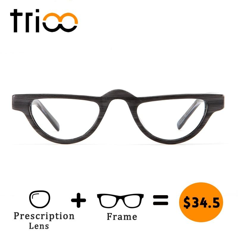 Halb Gläser Stil c2 C1 Design Brillen c3 Kleine Einzigartige Holz Minus Rezept Rahmen Retro Myopie Trioo c5 c4 High Fashion Absolvent X0gnqBwx