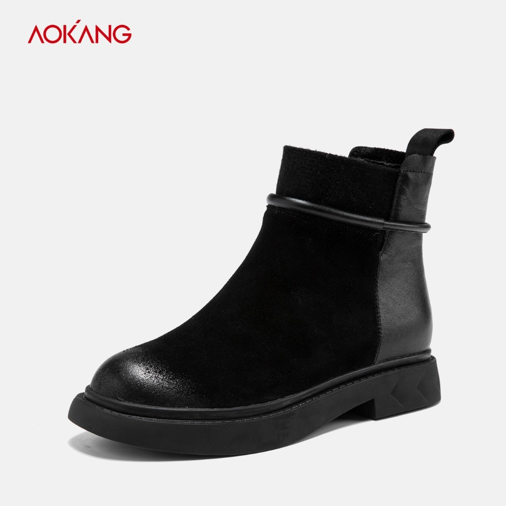 AOKANG 2018 Autumn Winter Boots Women Cow Suede British Style Chic Martin Boots Women Casual Ladies ankle shoes Motorcycle Boots