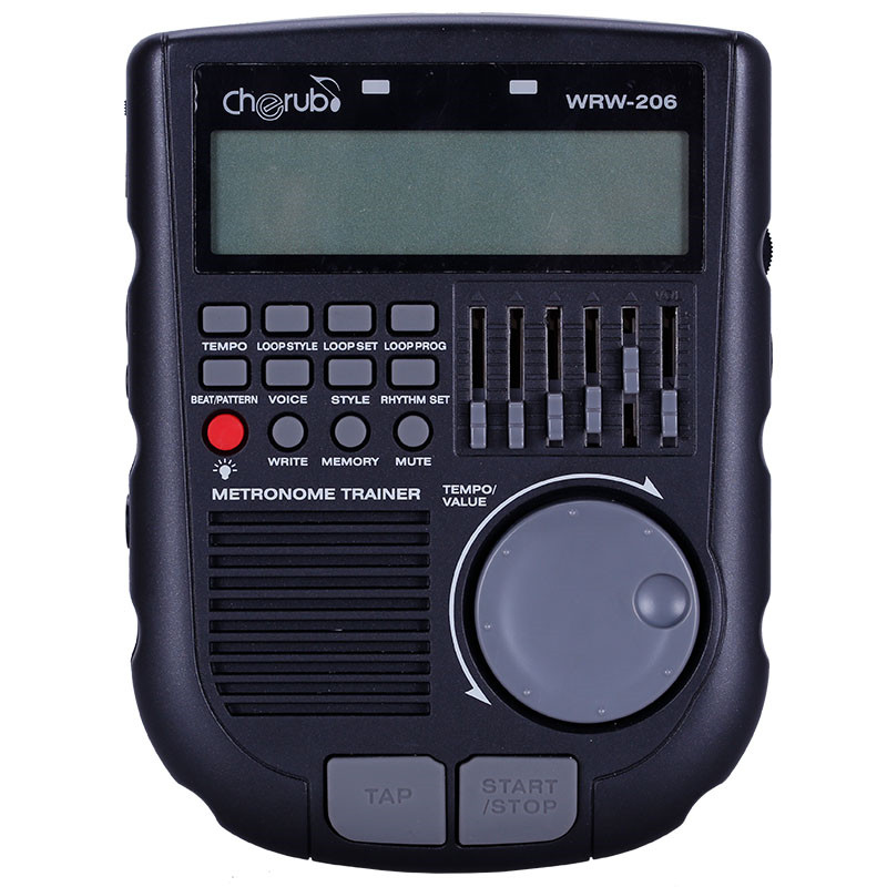 New WRW-206 Drum Metronome Professional Multiple Metronome Sounds Loop Play Function Amp Simulator Drum Trainer cherub wrw 106 rhythm trainer drum metronome