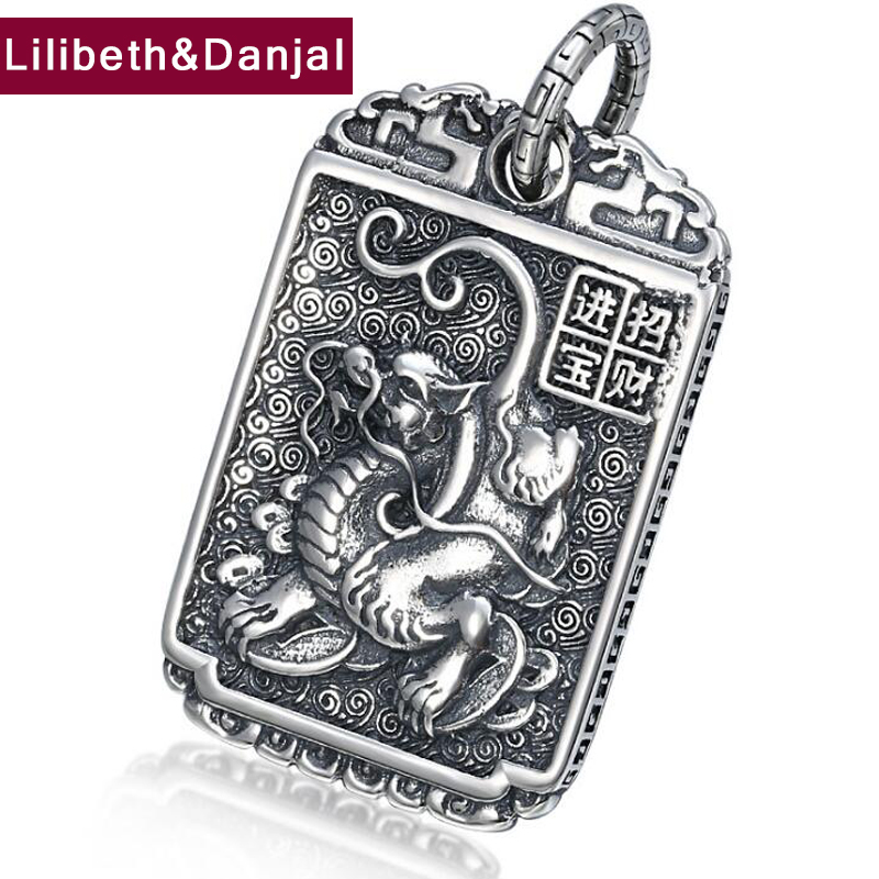 2019 Lucky Fortune Dragon Pendant 100% Real 925 Sterling Silver Men Women Necklace Pendants Plata De Ley 925 Jewelry Making P13
