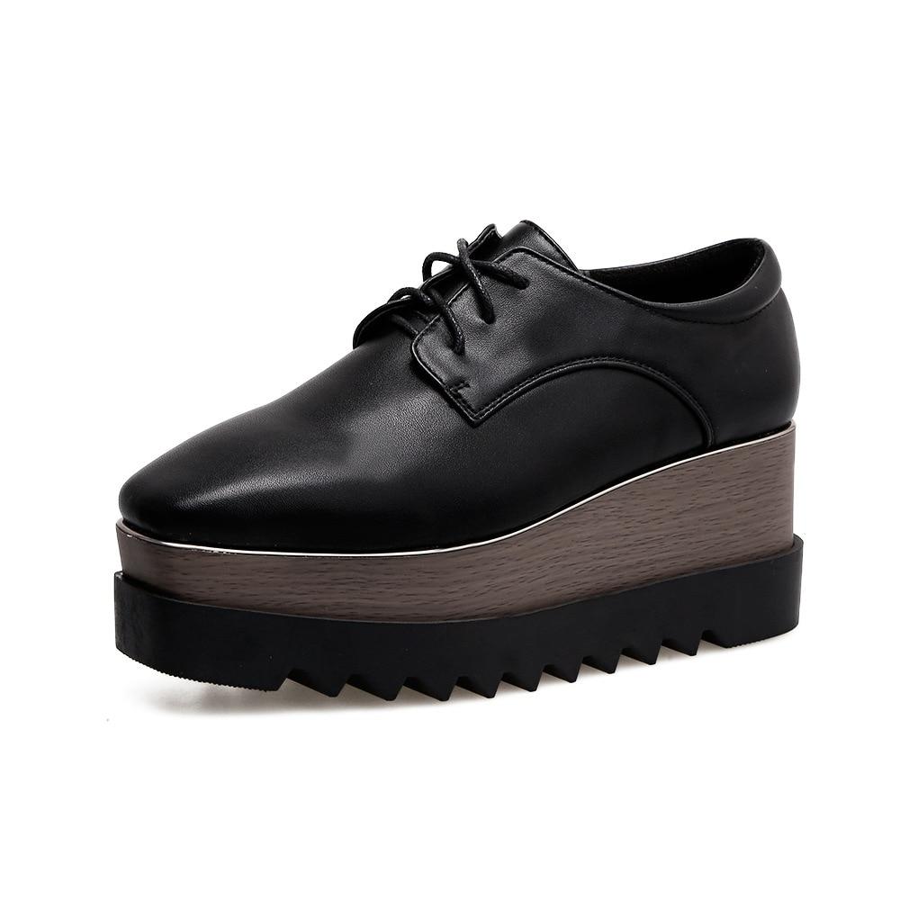 Bout carré chaussures à semelles compensées femmes Style britannique femmes chaussures décontractées femme plate-forme baskets dames chaussures