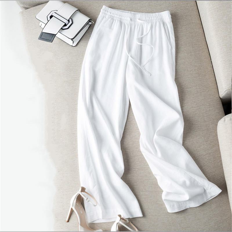 New Loose Large Size Wide Leg Pants Women Casual Straight Cotton Linen Pants Trousers Women Streetwear High Waisted Pants Q1680