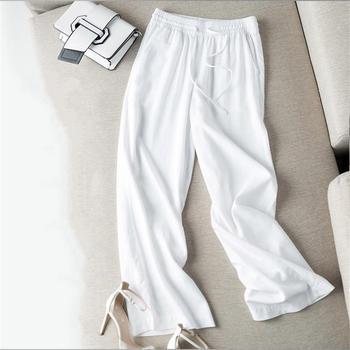 Nowe luźne duży rozmiar szerokie spodnie nogi kobiet na co dzień bawełna i len proste spodnie spodnie kobiety Streetwear spodnie z wysokim stanem Q1680 tanie i dobre opinie WOMEN Poliester Bawełniana Pościel Pełnej długości REGULAR Suknem Sznurek Kieszenie Plisowana vintage Stałe Wysoka