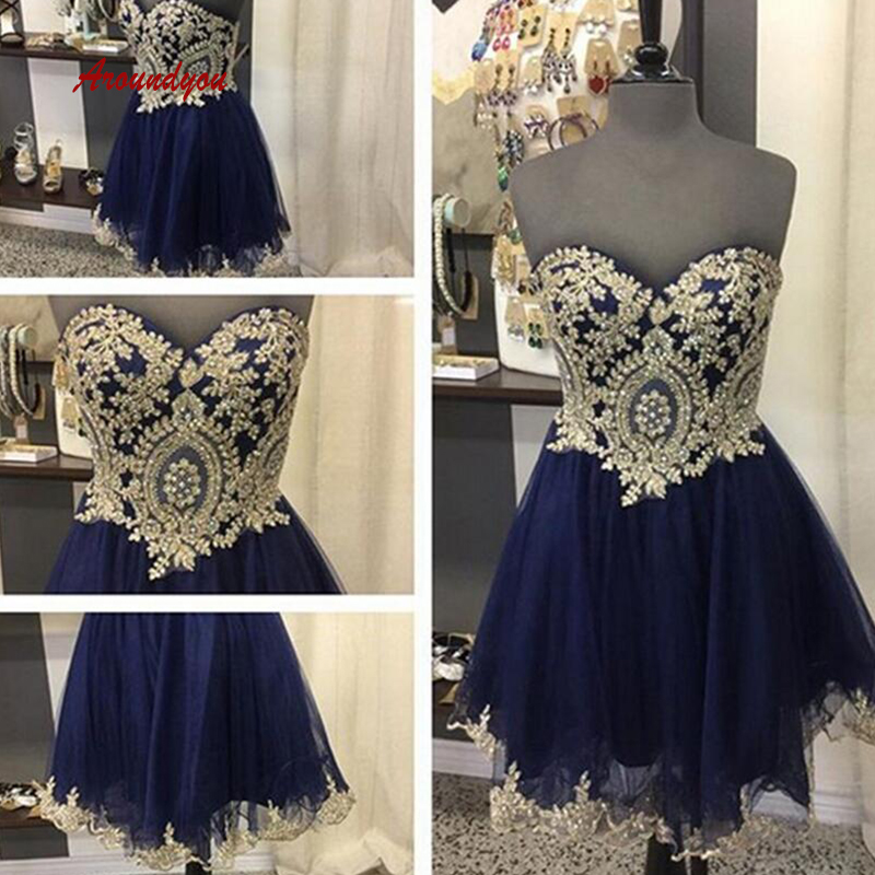 Sexy Navy Blue Short   Cocktail     Dresses   Plus Size Lace Mini Semi Formal Graduation Prom Party Homecoming   Dresses