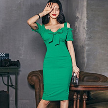 Plus Size Short Sleeve Sheath Bodycon Wrap Women Dress Green Ruffle Midi Dress Women With Bow 2019 Summer Dress Ladies Dresses