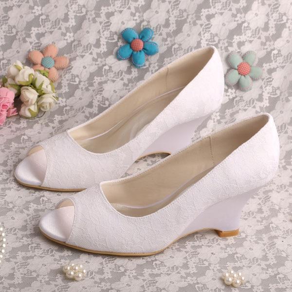 Wedopus MW1009 Women Wedge Heel Peep Toe Slip On Lace Wedding Shoes For Bride
