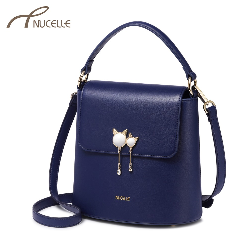37142493b369 NUCELLE Brand Women s PU Leather Handbags Ladies Fashion Cat Ear Tassel  Tote Purse Female Small Bucket Crossbody Bags-in Top-Handle Bags from  Luggage   Bags ...