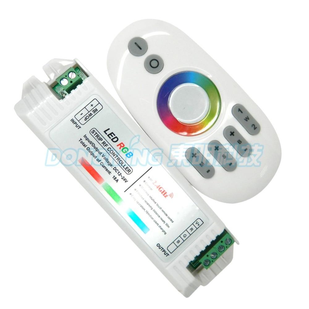 پانل لمسی بی سیم از راه دور + 12A 2.4g rgb به رهبری نوار کنترل rf برای RGB LED Strip RGB / RGBW لامپ / پانل