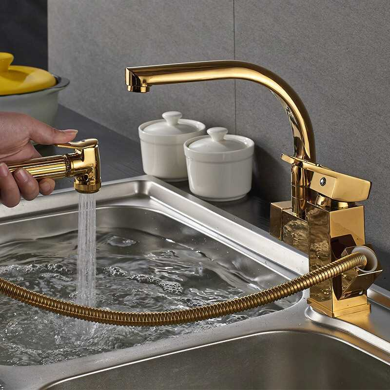 Bathroom Basin Faucet Kitchen Faucet Double Use Brass Golden Pull Out Sink Mixer Tap Unique Design Hot Cold Water Tap Torneiras