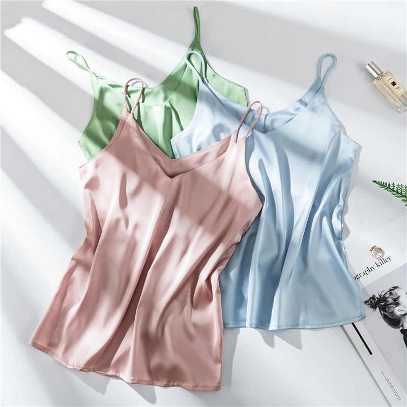 スパゲッティストラップトップ女性ホルター V ネック基本白キャミノースリーブシャツセクシーサテンシルクタンクトップス女性の夏のキャミソールプラスサイズ
