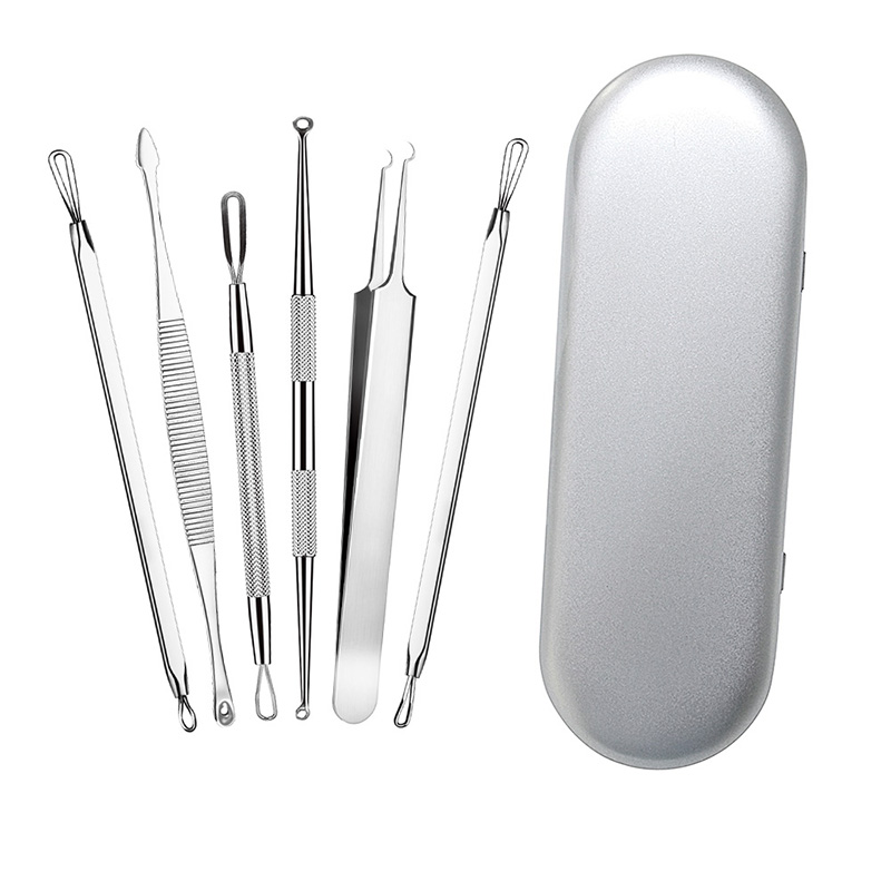 6pcs Blackhead Comedone Acne Extractor Remover Needles Tool Kit