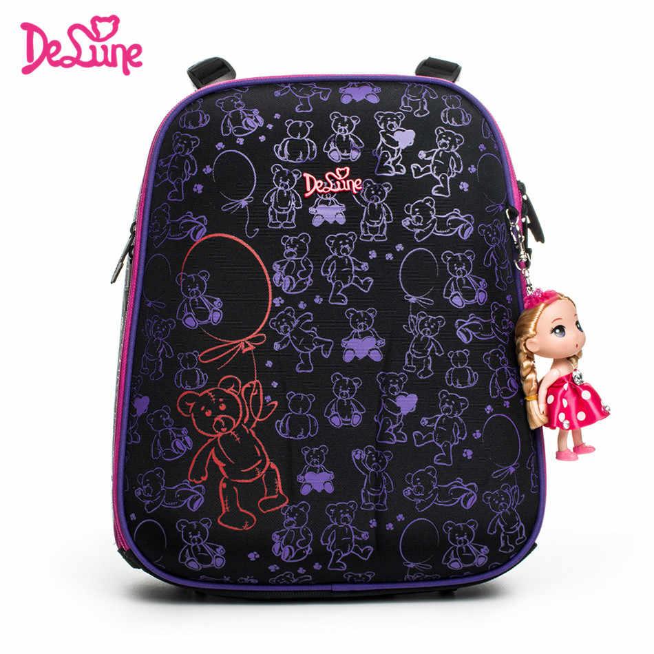 c173d401d83d ... 2018 бренд delune Новые девушки школьные сумки персонажа из мультфильма  дети животных Водонепроницаемый ортопедические школьный рюкзак ...