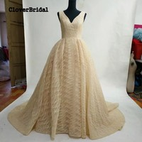 ColverBridal New Fabric High Quality A Line Long Evening Gold Party Dresses Shinny Glitter Lace Vestido