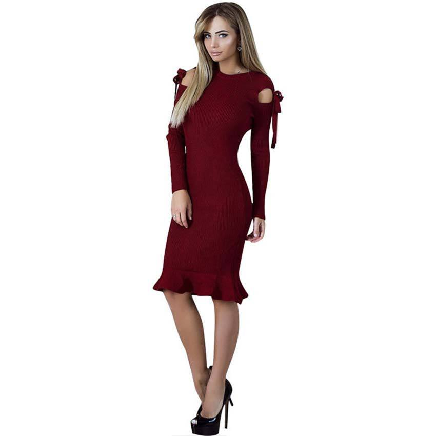 Knitted Knee Dress Off The Shoulder Bandage Tie Bow Body Ruffle Dresses For Woman 2017 Winter Autumn WS4683Z