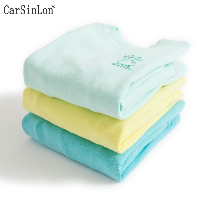 Carsinlon Kids Thermal Underwear Solid Colors Cotton Thick Boys Pyjamas Girls Sets For Winter Children Long Johns Warm Suits