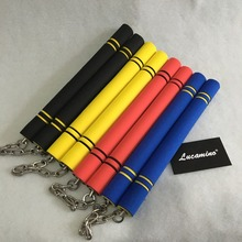 (2pcs/lot) Nunchakus Martial Arts wushu practice equi Safety Foam Nunchakus Sponge Double Truncheon with Stainless Steel Chain mantis boxing double peg stainless steel wushu weapon accept custom