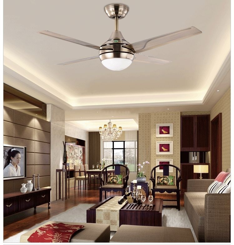 Modern Minimalist Led Fan Lights 44inch Iron Leaf Fan