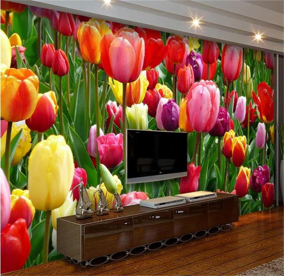 custom mural photo 3d wallpaper living room tulips flowers clusters painting sofa TV background non-woven wallpaper for wall 3d