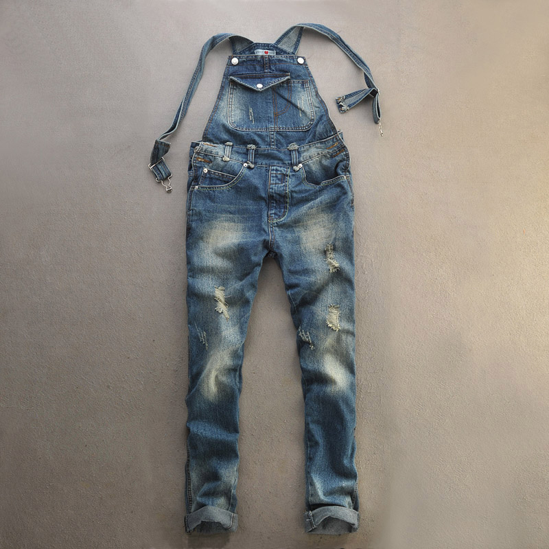 Summer Fashion Men's Cool Ripped Hole Blue Denim Overalls Male Jeans Jumpsuits Suspenders Trousers For Man plus size 5XL 022801 men s bib jeans 2016 new casual front pockets blue denim overalls boyfriend jumpsuits male suspenders jeans size m xxl