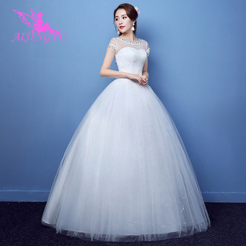 AIJINGYU 2018 Custom Made Free Shipping New Hot Selling Cheap Ball Gown Lace Up Back Formal Bride Dresses Wedding Dress FU209