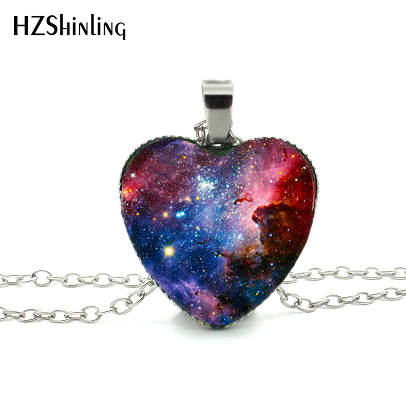 New Galaxy Nebula Heart Necklace Space Universe