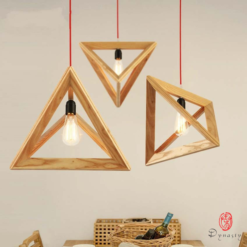 Triangle Oak Pendant Light Art Decorative Wooden Hanging Lamp LED E27 Europe Style Restaurant Cafe Foyer Modern Fixture Dynasty denmark antique pinecone ph artichoke oak wooden pineal modern creative handmade wood led hanging chandelier lamp lighting light