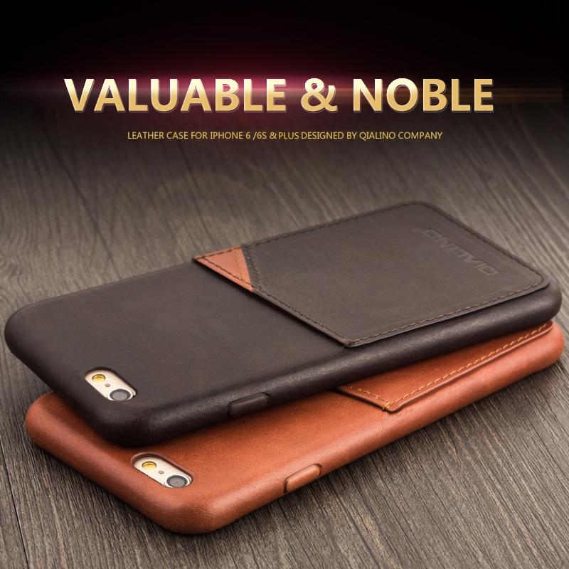 QIALINO äkta läderfodral för iPhone 6 & 6s Fashion Insert Card - Reservdelar och tillbehör för mobiltelefoner