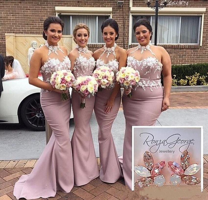 Dusty Rose Pink Mermaid Bridesmaid Dresses Halter With 3D Flowers Satin Long Plus Size Wedding Maid Of Honor Custom Made In From