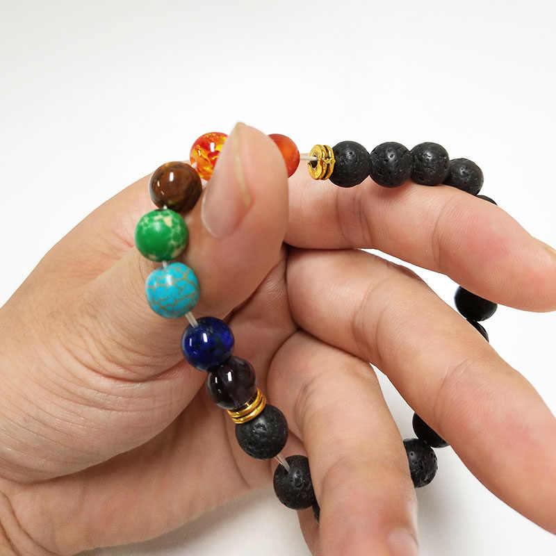 LELX 1 ピース新 7 チャクラブレスレット男性黒溶岩治癒バランスビーズレイキ仏祈り天然石ヨガのブレスレット女性のための