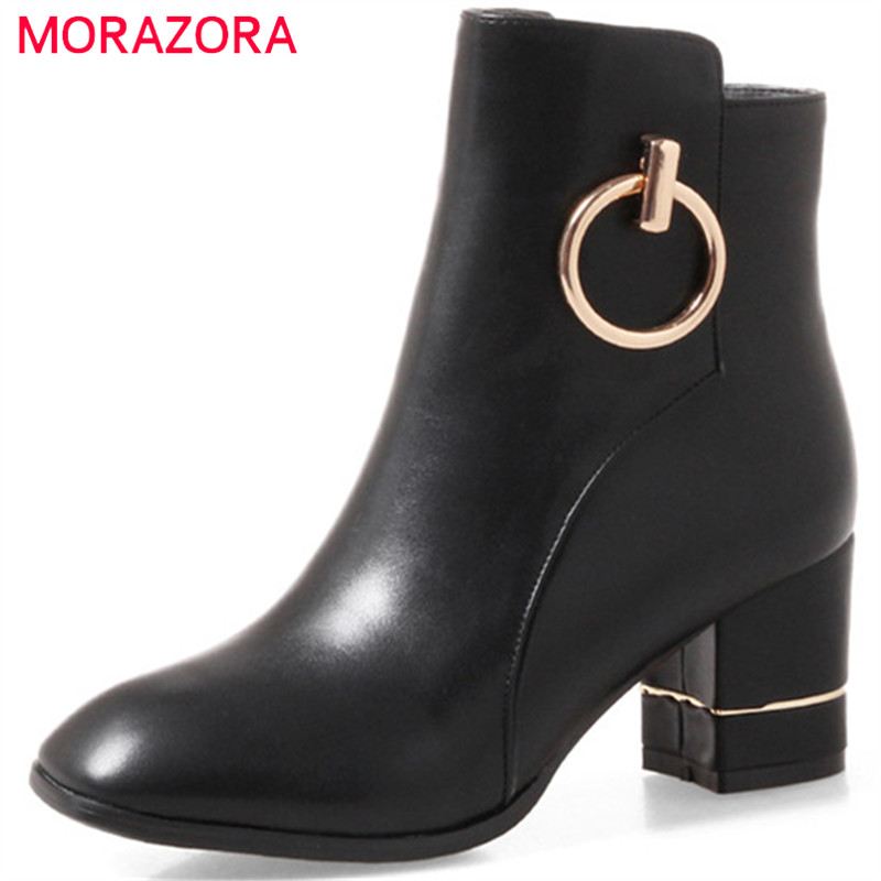 MORAZORA High heels shoes fashion boots in spring autumn ankle boots for women PU soft leather womens boots big size 34-43 siketu 2017 free shipping spring and autumn women shoes fashion sex high heels shoes red wedding shoes pumps g107