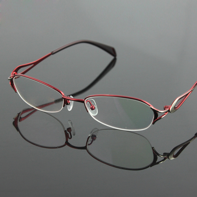 New Women's half rimless eyeglasses frame fashion optical eyewear RXable myopia glasses 7252 clear lenses