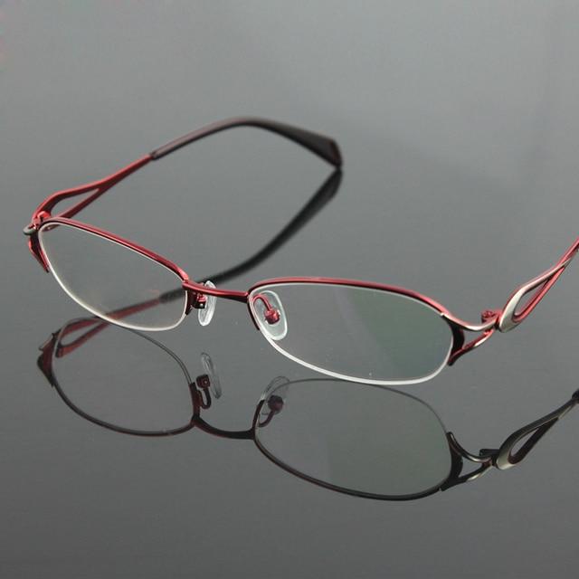 50df3c0e333 New Women s half rimless eyeglasses frame fashion optical eyewear RXable  myopia glasses 7252 clear lenses