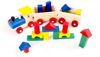 Brinquedo do bebê educacional das crianças blocos de construção de trem de madeira segura melhor presente