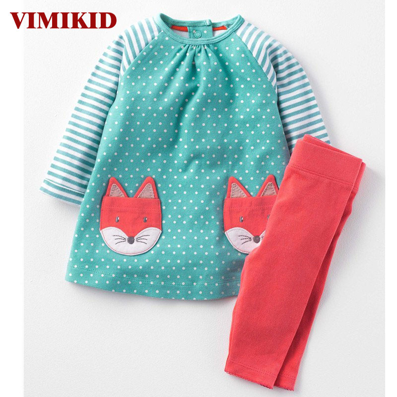 VIMIKDGirls Clothes Children Clothing 2017 Brand Toddler Girl Clothing Sets Roupas Infantis Menino Character Striped KidsClothes girls clothes children clothing 2017 brand girl clothing sets roupas infantis animal casual kids clothes